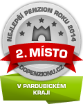 Zařízení získalo ocenění 2. Nejlepší penzion roku 2014 v Pardubickém kraji v anketě Penzion roku 2014